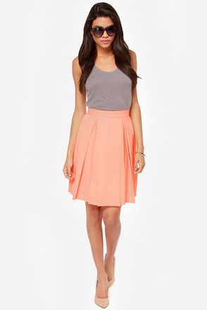 Pleat your match bright peach skirt