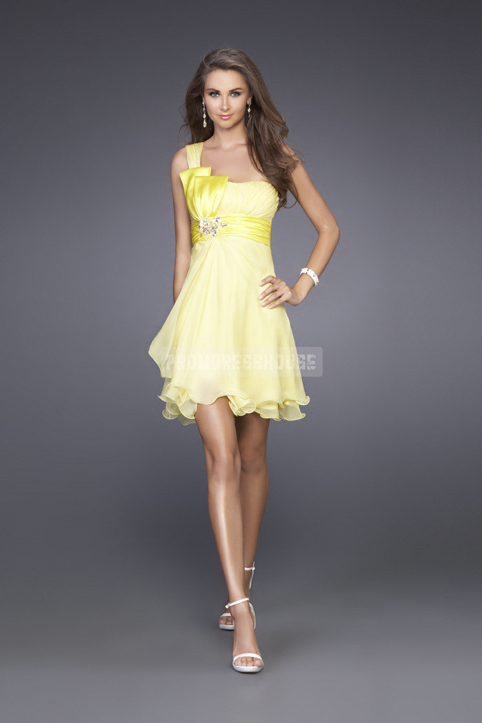 One Shoulder Empire Chiffon Pleats Cocktail Dress - Promdresshouse.com