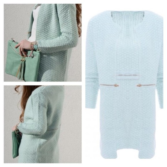 mint cardigan knitted cardigan oversized cardigan light blue zipper