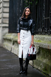 skirt,midi skirt,backpack,streetstyle,fashion week 2016,paris fashion week 2016,jacket,top,mini backpack,midi leather skirt,midi white leather skirt,buttoned skirt