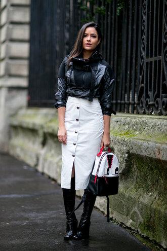 skirt midi skirt backpack streetstyle fashion week 2016 paris fashion week 2016 jacket top mini backpack midi leather skirt midi white leather skirt buttoned skirt