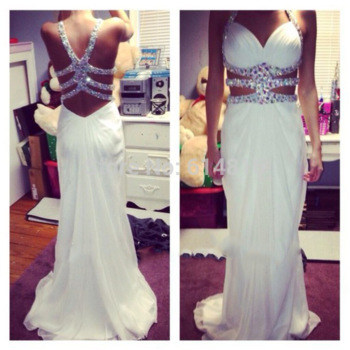 Aliexpress.com : Buy Sexy Spaghetti Straps Halter Sleeveless A line White Chiffon Prom Dresses 2015 Long Crystals Beaded Vestidos De Festa from Reliable Prom Dresses suppliers on Suzhou Babyonlinedress Co.,Ltd | Alibaba Group