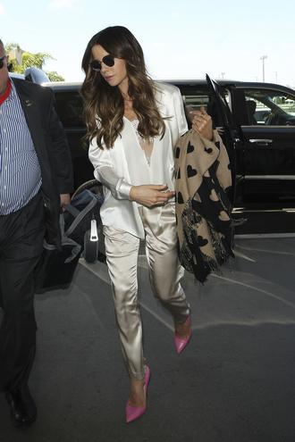 thebudgetbabe blogger blouse pants dress shoes sunglasses pink high heels high heel pumps suit