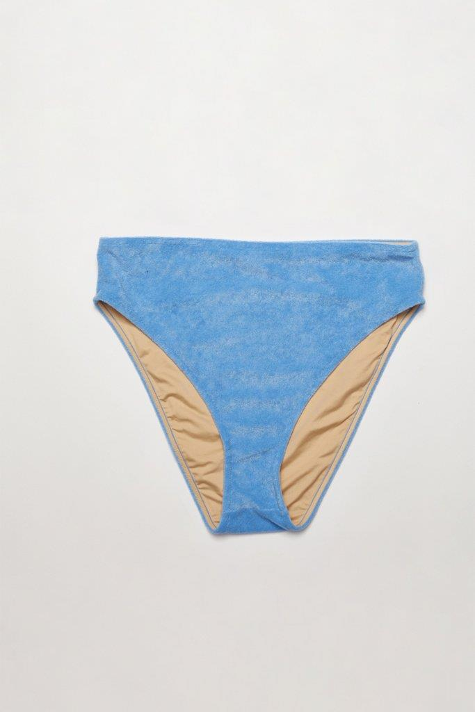Towelling High Waisted Brief - Blue