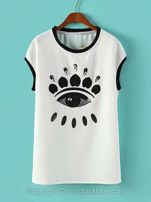White Round Neck Sleeveless Eye Print T-Shirt - HandpickLook.com