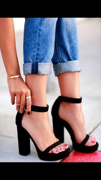 sandals black platform high heels heels sandal heels strappy black heels black heels two strap heels