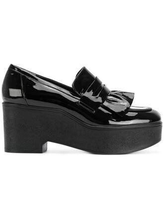 women pumps platform pumps leather black shoes