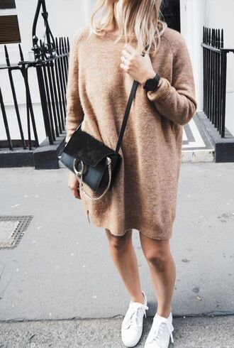 sweater camel clothes dress mohair cashmere wool brown beige light brown bag sweater dress oversized chloe tennis shoes oversized sweater knitted dress beige knit dress nude fall dress long sleeve dress fall colors chloe bag black bag cute outfits outfit idea white sneakers back to school college tumblr outfit