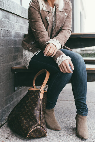 wild one forever - fashion & style by kristin blogger jacket sweater jeans shoes bag suede jacket ankle boots louis vuitton bag louis vuitton
