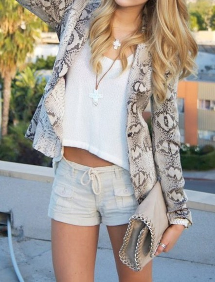 rope blue shorts light denim tie legs summer pocket jacket