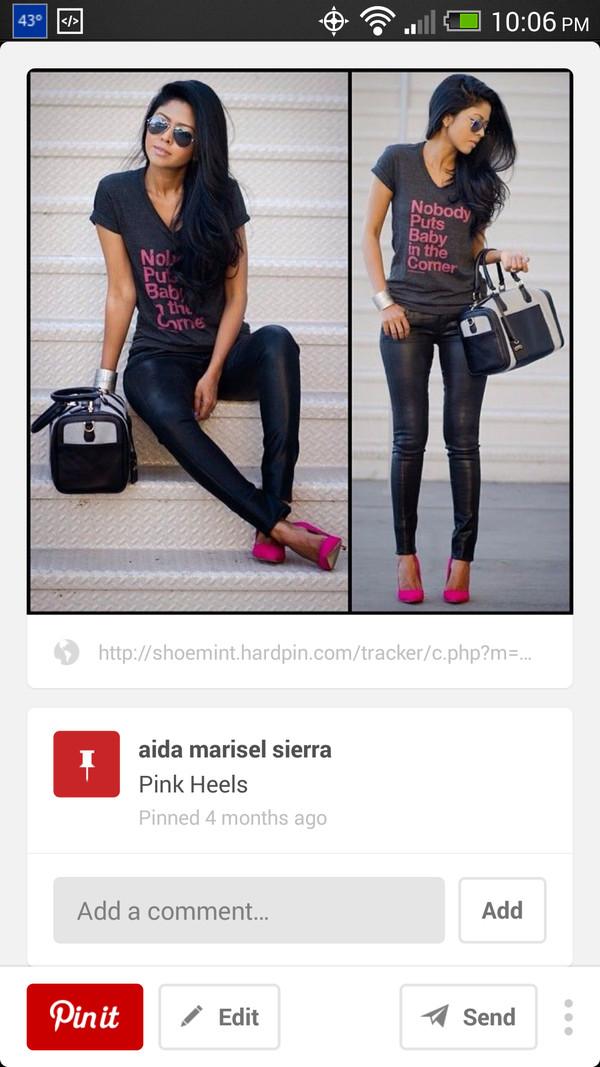 shoes pink high heels shirt
