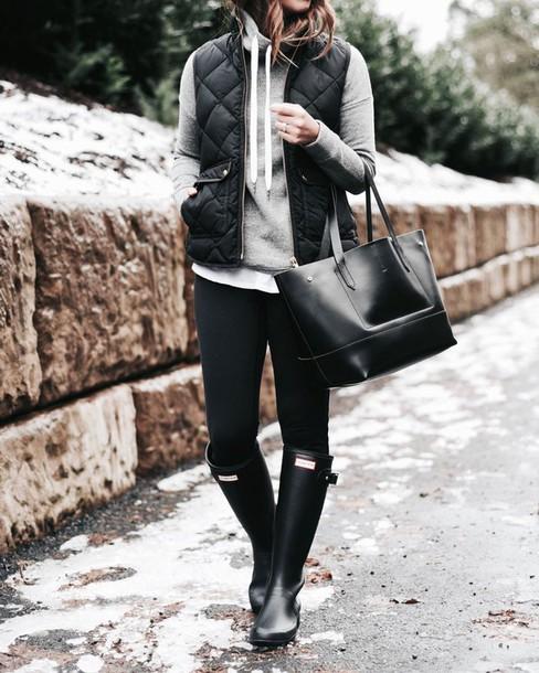 Jacket: tumblr, quilted vest, black vest, vest, hoodie, grey ... : hunter boots quilted - Adamdwight.com