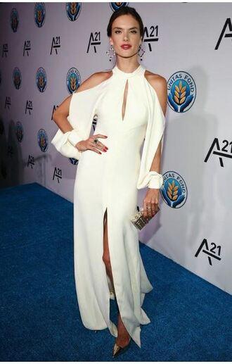 dress gown slit dress alessandra ambrosio white dress