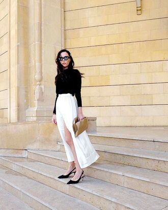 skirt top white skirt black top bag sunglasses shoes black shoes sandals