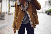 jacket,coat,brown shearling coat,shearling jacket,brown shearling jacket,pilot jacket,brown