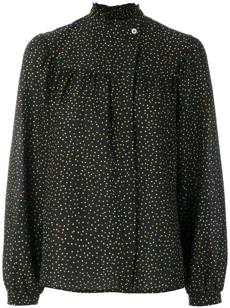 Vanessa Seward blouse women cotton black silk top