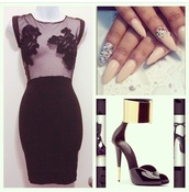 dress,little black dress,mesh,flowers