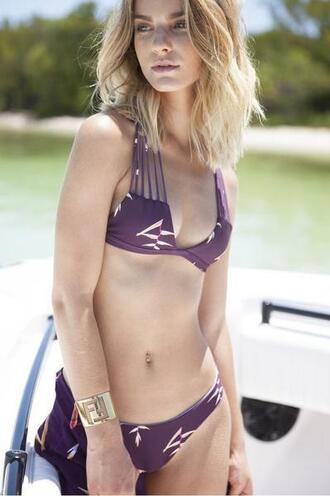 top bikini top floral halter top nirvanic swim print purple triangle bikiniluxe