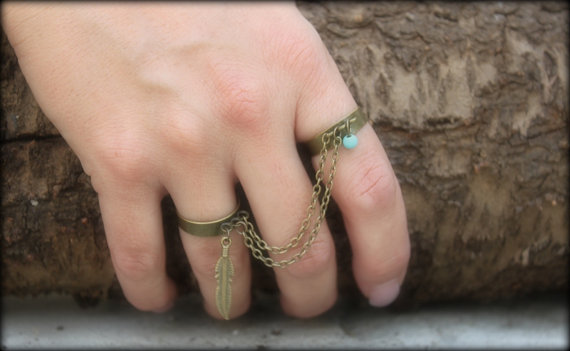 Two Bronze Finger Ring chain by handmadebyinali on Etsy
