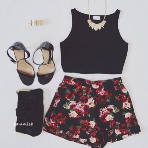 shorts flowers black tank top shirt crop top sleeveless blouse