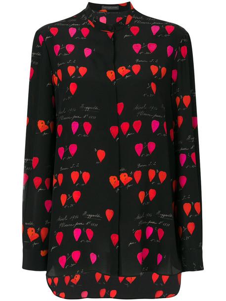 Alexander Mcqueen blouse women print black silk top