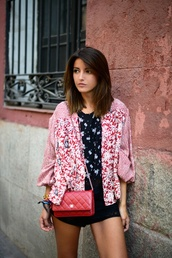 lovely pepa,jacket,shoes,top,bag,jewels,kimono,free people,chanel,pull & bear,marc jacobs,blogger,summer outfits,clutch,red clutch,floral,floral kimono