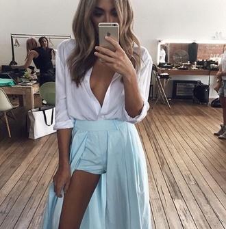 shorts maxi skirt asymmetrical skirt skorts style skirt mint dress blouse cut-out train blue maxi tumblr