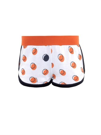 shorts cotton print orange