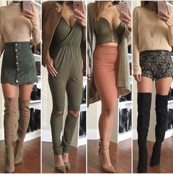 Jumpsuit: jumper, green skirt, scalloped, knee high boots, suede ...