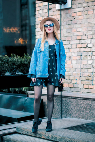 anna pogribnyak city fashion: my vision blogger dress jacket hat sunglasses jewels bag shoes