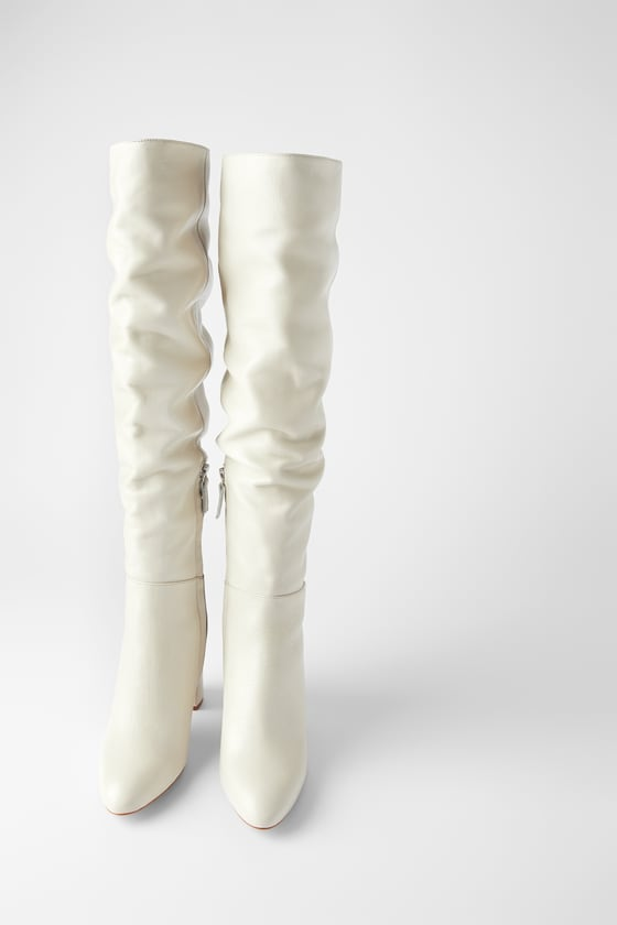 LEATHER HIGH HEEL BOOTS WITH TALL LEG