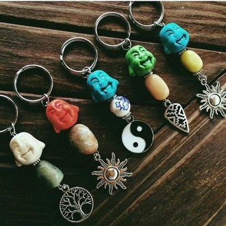 hair accessory buddha yin yang blue green yellow tree sun red white stone aztec keychain