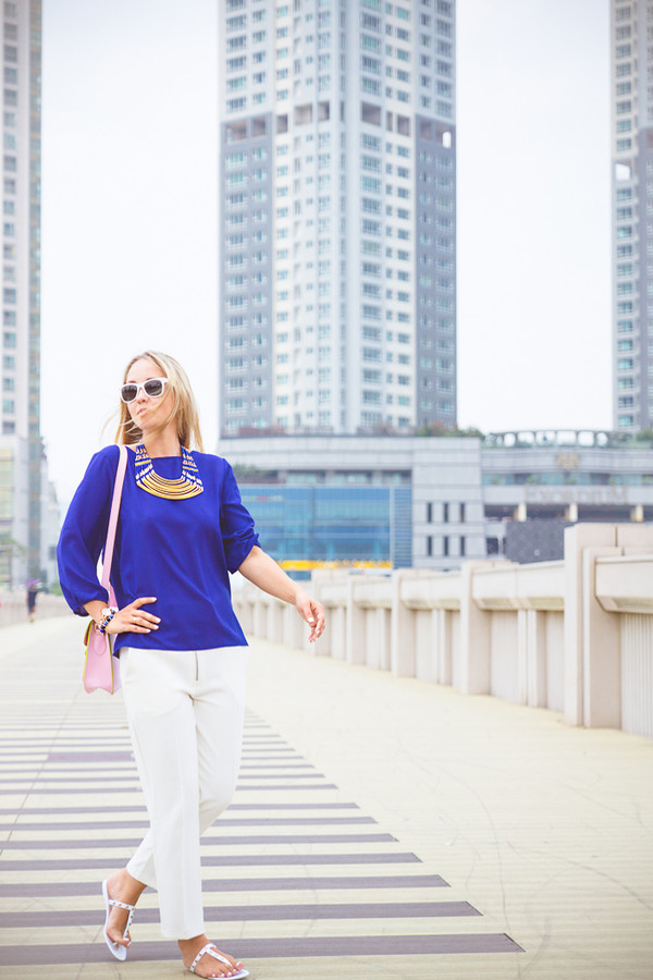 my blonde gal blouse bag sunglasses shoes