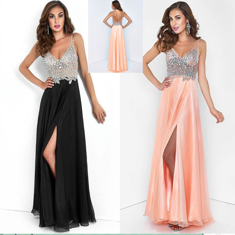 Aliexpress.com : buy 2015 new see through sexy spaghetti strap v neck crystal beaded chiffon open back long black prom dresses for special occasion from reliable dress bag suppliers on suzhou babyonline dress store