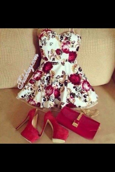 dress red red dress ootd beautiful summer floral fashion help me find it (: tumblr summer dress summer outfits