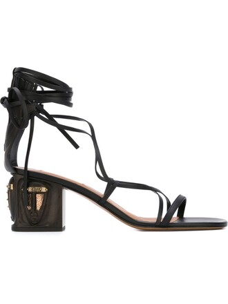 heel wood women sandals leather black shoes
