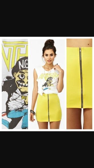 skirt zipskirt yellow skirt skirt zip front