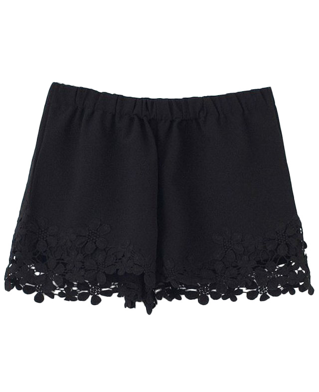 Lacework Elastic-waist Solid-tone Shorts | BlackFive