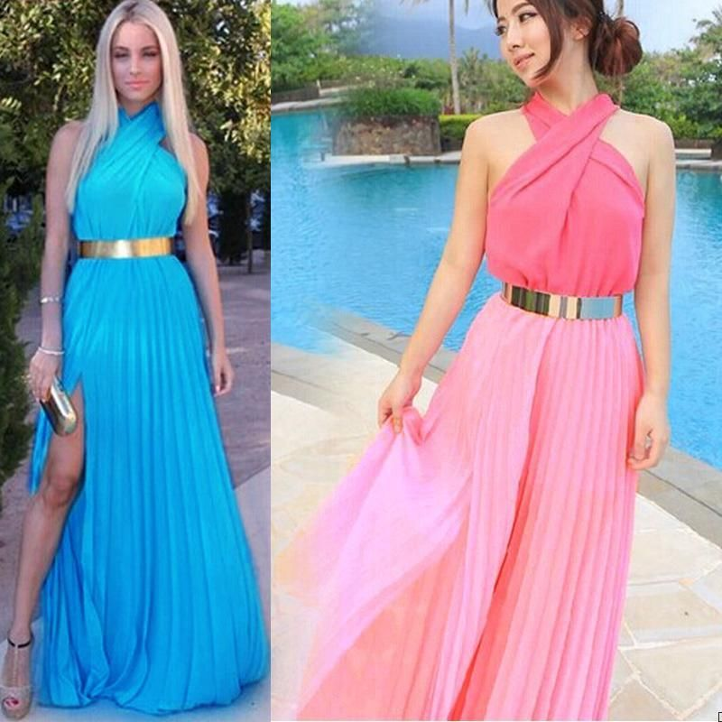 New Ladies Halter Pleated Chiffon Belted Greek Style Maxi Prom ...