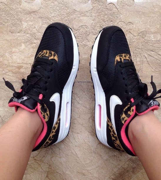 hot sale online 0e223 36737 shoes nike black pin leopard print white pink leopard print nike shoes  sports shoes nike air