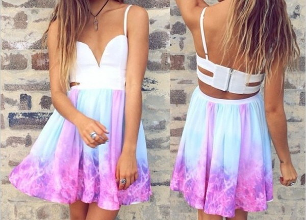 open back mini dress pink dress white dress summer dress summer outfits dress purple and blue tie dye purple and blue skater dress tie die space .... tap at top white blue pink summer beach beach dress