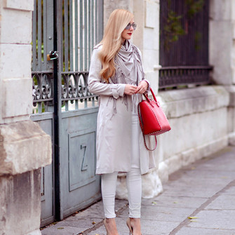 scarf jeans jacket blogger camel red bag oh my vogue trench coat pumps scarf red