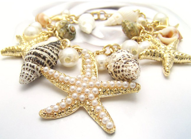 Cute ocean style pearl starfish conch charm bracelet wholesale