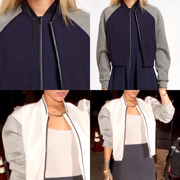 navy jacket bimaterial navy blue# off-white leather jacket