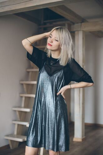 dress black sheer top sexy dress slip dress blogger date outfit