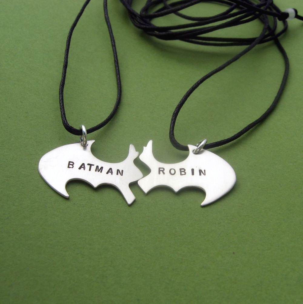 Batman Best Friend necklaces, Personalized Friendship sterling silver Black Cotton Cords