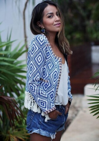 jacket boho ethnic spring spring jacket blue and white