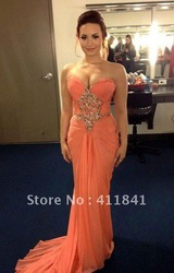 Online Shop Demi Lovato Strapless Peach Chiffon Gown Celebrity Dress 2012 People's Choice Awards|Aliexpress Mobile