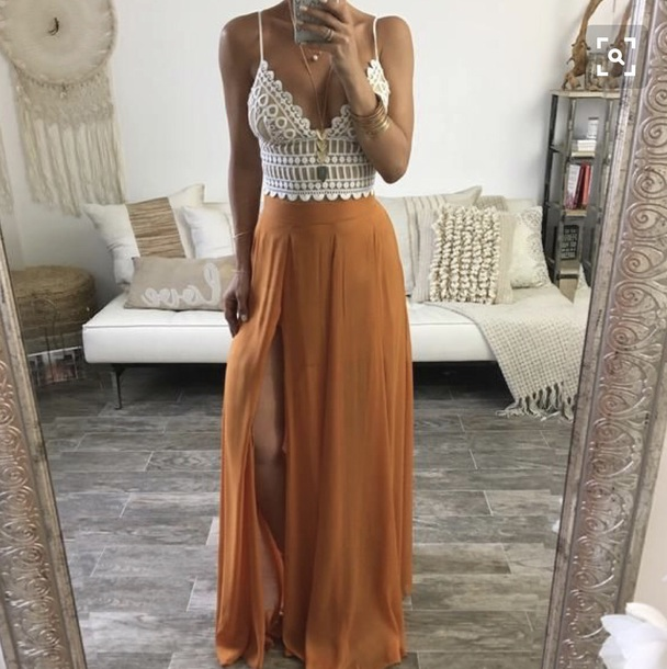 blouse lace top crop tops cleavege shirt skirt orange maxi skirt flowy