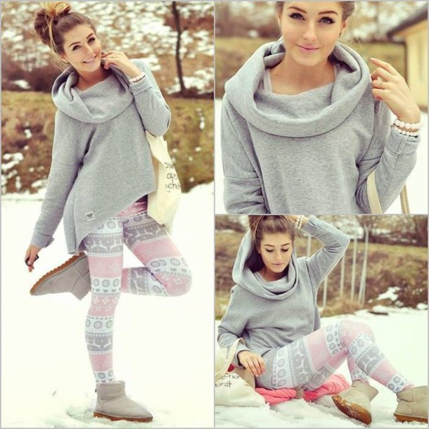 leggings pastel pants ugg boots sweater tote bag pearl cute turtleneck hoodie hooded sweatshirt grey sweater girly outfits tumblr girly